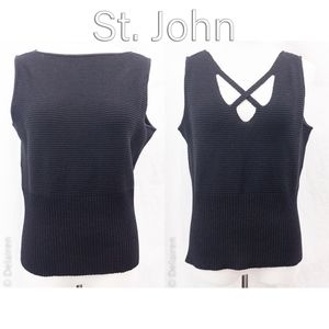St. John Black Knit Reversible ? Shell Tank Top